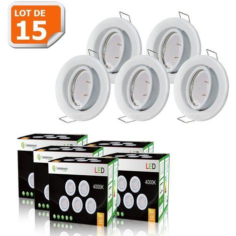 LOT DE 15 SPOT LED ENCASTRABLE COMPLETE ORIENTABLE BLANC AVEC AMPOULE GU10 230V eq. 50W, LUMIERE BLANC NEUTRE