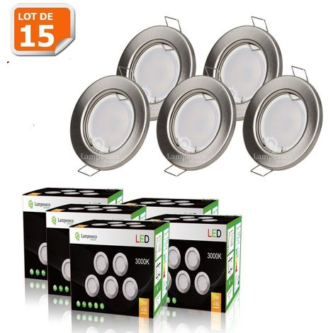 LOT DE 15 SPOT LED ENCASTRABLE COMPLETE RONDE FIXE ALU BROSSE eq. 50W BLANC CHAUD