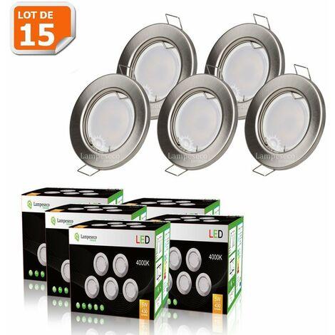 LOT DE 15 SPOT LED ENCASTRABLE COMPLETE RONDE FIXE ALU BROSSE eq. 50W BLANC NEUTRE
