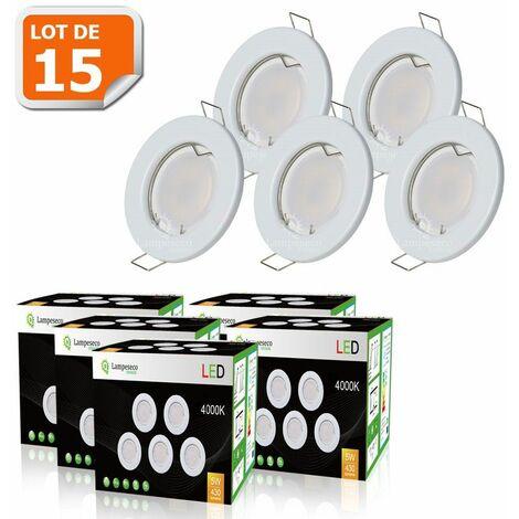 LOT DE 15 SPOT LED ENCASTRABLE COMPLETE RONDE FIXE eq. 50W LUMIERE BLANC NEUTRE