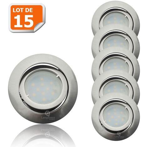 Lot de 15 Spot Led Encastrable Complete Satin Orientable lumière Blanc Chaud eq. 50W ref.209