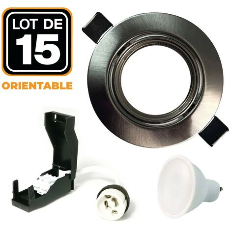 Lot de 15 Spots LED 5W Encastrable et orientable complet en Alu brossé avec Ampoule GU10