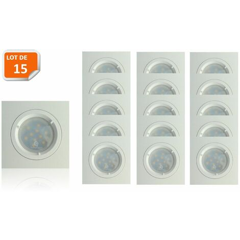 Lot de 15 Spots Led Blanc Carré lumière Blanc Neutre 5W eq. 50W ref.464
