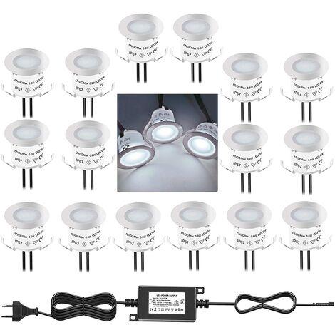 Lot de 16 Mini Spot LED Encastrable Extérieur, IP67 Étanche, Lumière Blanc du Jour 4500K, Lampe de sol 32MM 0.6W DC12V pour Chemin Terrasse Bois Piscine Escalier