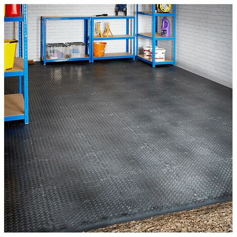 Lot de 169x dalle PVC + 13x bordure biseautée pour garage de 6 x 6m | Pastillé | Noir | Mega Deal | Certeo - Noir