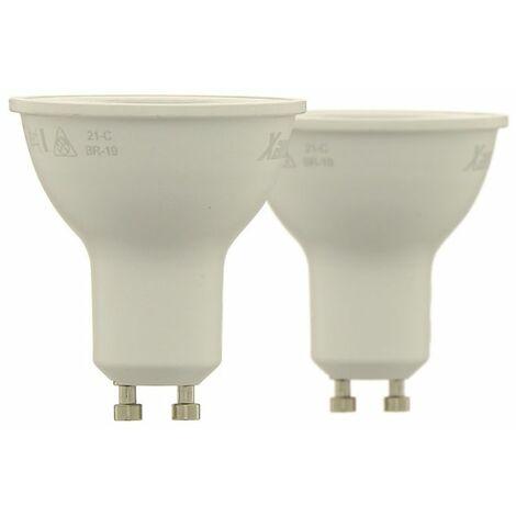 Lot de 2 ampoule LED spot au culot GU10, 6W cons. (65W cons.), lumière blanche chaude | Xanlite