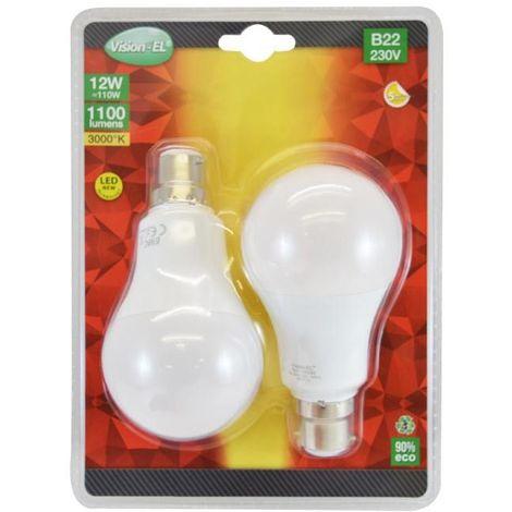 LOT de 2 ampoules 12W LED (éq 110W) Culot B22 - 3000°K - 1100 lm - opale