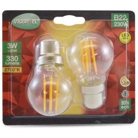 LOT de 2 ampoules 3W LED FILAMENT (éq 30W) Culot B22 - 2700°K - Boule Ø45