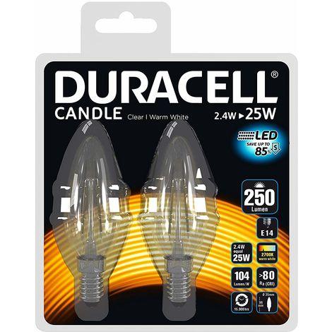 Lot de 2 ampoules Duracell LED E14 25 W Flamme filament