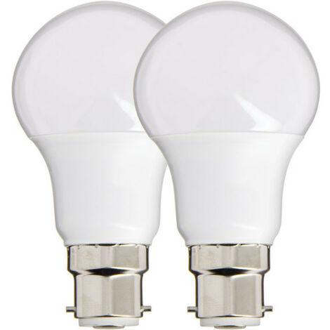 Lot de 2 Ampoules LED A60, culot B22, 10W cons. (60W eq.), lumière blanc chaud   Xanlite