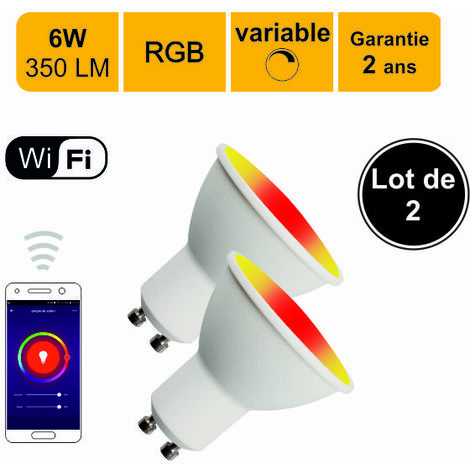 Lot de 2 ampoules LED connectée spot GU10 6W (equiv. 50W) 350Lm RGB Dimmable - compatible avec Alexa ou Google Home