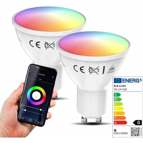 Lot de 2 ampoules LED connectées GU10 choix de couleurs RVB CCT dimmables commande vocale par Appli compatibles Alexa Google Home 5,5W