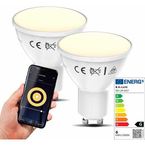 Lot de 2 ampoules LED connectées GU10 compatibles Alexa et Google Home voice contrôle 5,5W