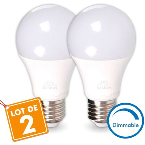 LOT de 2 AMPOULES LED E27 13W DIMMABLE Eq 75W | Température de Couleur: Blanc chaud 2700K