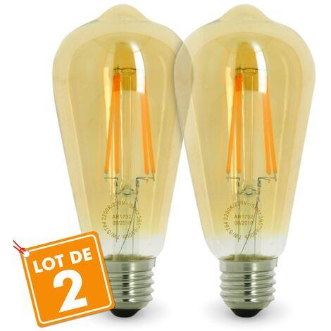 Lot de 2 AMPOULES LED E27 7W ST64 2200K Type Edison | Température de Couleur: Blanc chaud 2200K