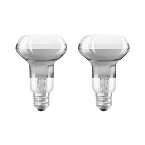 Lot de 2 ampoules LED E27 R63 verre clair 4 watt (eq. 30 watt) blanc chaud