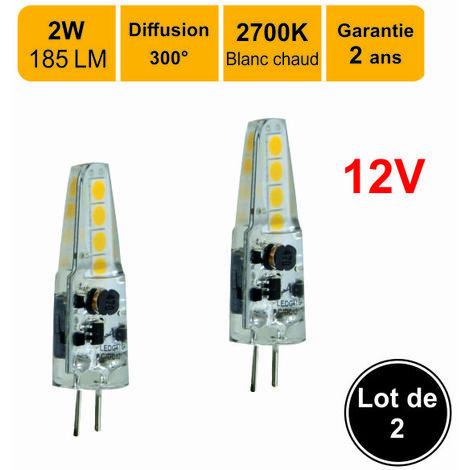 Lot de 2 ampoules LED G4 12V 2W capsule(equiv. 20W) 180Lm 3000K