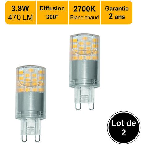 Lot de 2 ampoules LED G9 4,5W capsule(equiv. 35W) 300Lm 3000K