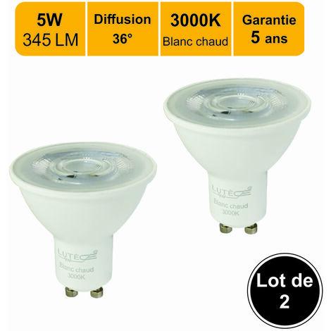Lot de 2 ampoules LED spot COB GU10 angle 36° 5W (equiv. 50W) 345Lm 3000K