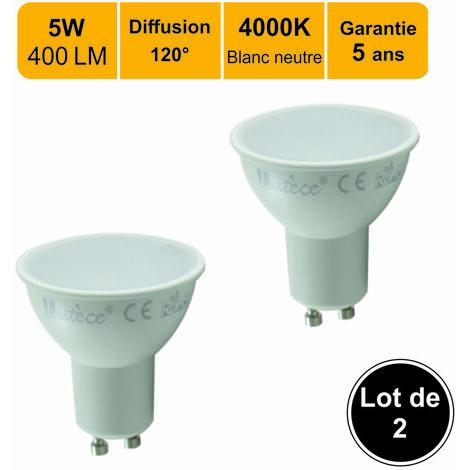 Lot de 2 ampoules LED spot GU10 5W (equiv. 50W) 400Lm