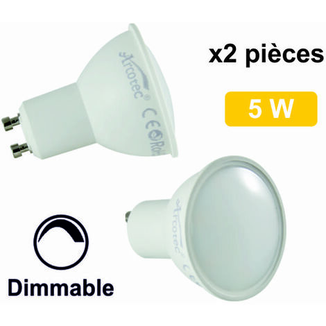 Lot de 2 ampoules LED spot GU10 6W (equiv. 50W) 460Lm 2700K Dimmable