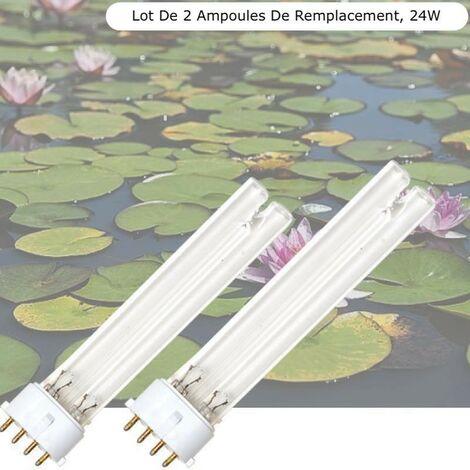 Lot de 2 Ampoules Stérilisateur - Clarificateur UV 24W, Pour Aquarium, Bassin De Jardin