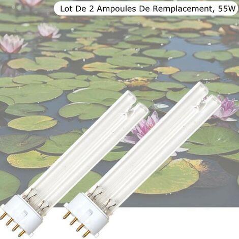 Lot de 2 Ampoules Stérilisateur - Clarificateur UV 55W, Pour Aquarium, Bassin De Jardin