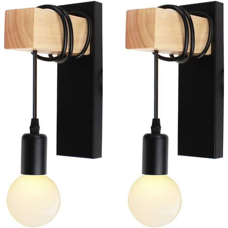 Lot de 2 Applique Murale Intérieur Vintage Industrielle Lampe Murale E27 Luminaire Abat-jour en Métal avec Support en Bois pour Salon Couloir Bar (Douille Noire)