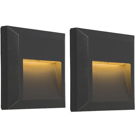 Lot de 2 appliques Modernes Graphite / Antracite / Gris Foncé avec LED - Gem 2 Qazqa Moderne Luminaire interieur IP65