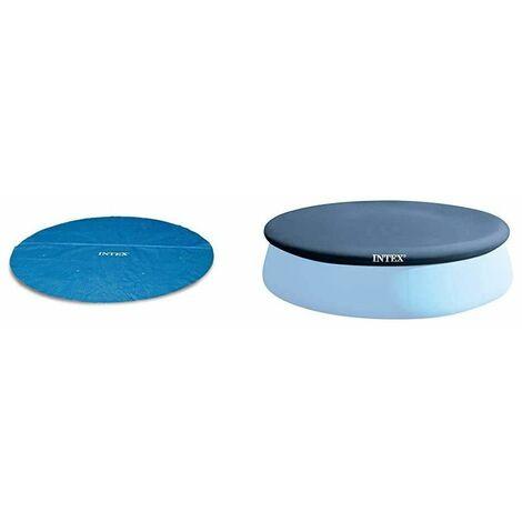 Lot de 2 baches Intex pour piscine autoportante 4.57m - Bache solaire + bache de protection - Livraison gratuite