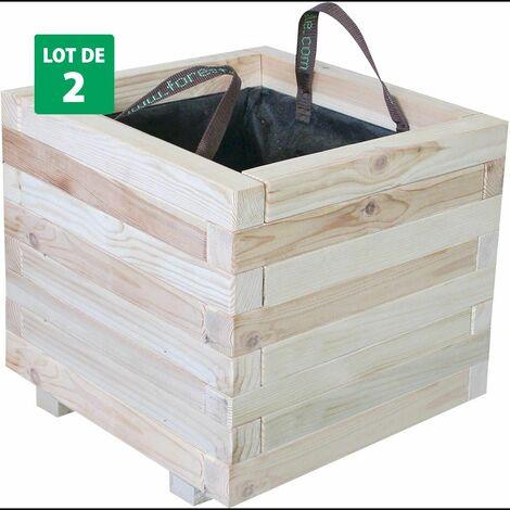 Lot de 2 Bacs à fleurs carré en bois clair – (60 × 60 × H43 cm / 111 L) - Bardane