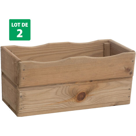 Lot de 2 Bacs à fleurs en bois traité contre insectes et moisissures – (40 × 20 × H18cm/ 9L) - HORTENSE