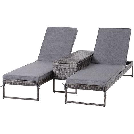 Lot de 2 bains de soleil design table basse + matelas inclus