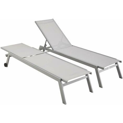 Super Lot de 2 bains de soleil ELSA en aluminium gris et textilène gris RA-22