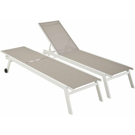 Lot de 2 bains de soleil ELSA en aluminium blanc et textilène taupe, transats multi positions avec roulettes