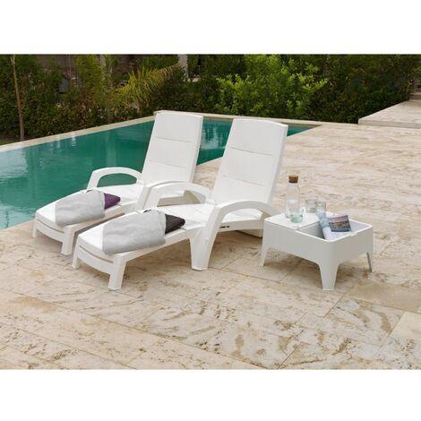 Lot de 2 bains de soleil et table d'appoint blanc