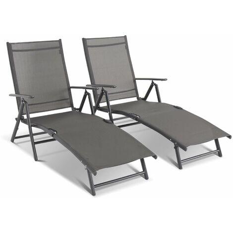 Lot de 2 bains de soleil pliants – JULIA anthracite – transat 7 positions. textilène et aluminium galvanisé noir. accoudoirs Anthracite / Anthracite