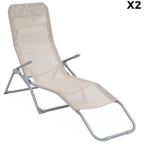 Lot de 2 bains de soleil pliants - Levito Taupe - Transats textilène 2 positions, chaises longues