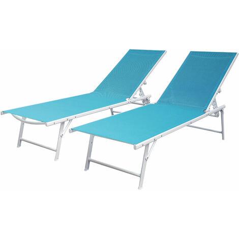 Lot de 2 bains de soleil pliants SICILIA en textilène bleu - structure blanche - Bleu