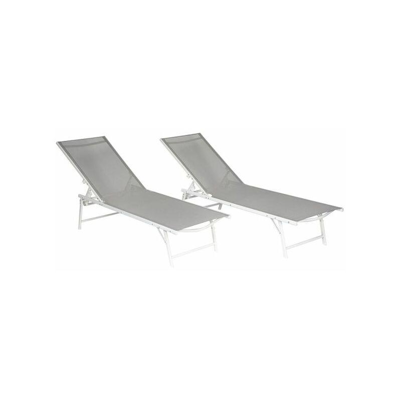 Happy Garden - Lot de 2 bains de soleil pliants SICILIA en textilène gris - structure blanche - Gris / Blanc