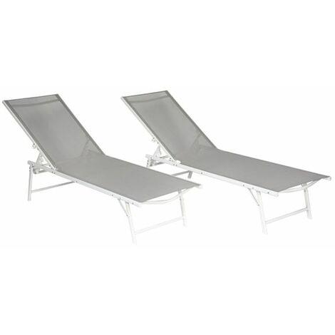 Lot de 2 bains de soleil pliants SICILIA en textilène gris - structure blanche - Gris