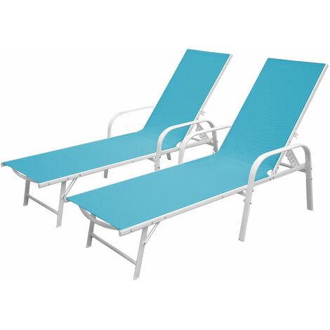 Lot de 2 bains de soleil SARDINIA en textilène bleu - structure blanche - Bleu