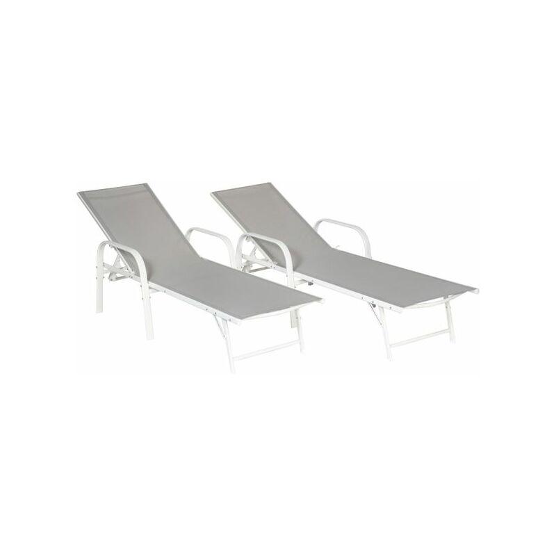 Happy Garden - Lot de 2 bains de soleil SARDINIA en textilène gris - structure blanche - Gris / Blanc
