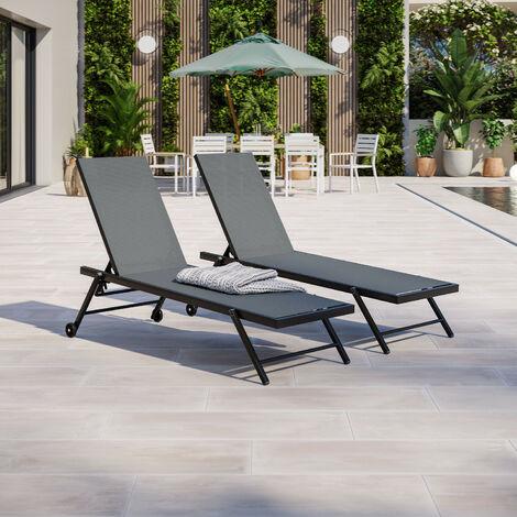Lot de 2 bains de soleil / transat aluminium inclinable avec roulettes - Noir Gris - ALIA - Gris