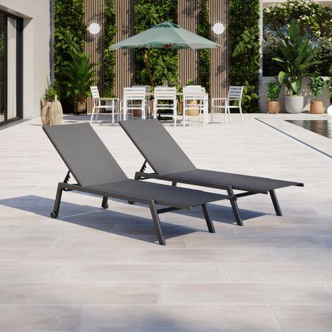 Lot de 2 bains de soleil / transats de jardin en aluminium avec roulettes - inclinable - Gris noir- COSTA - Gris