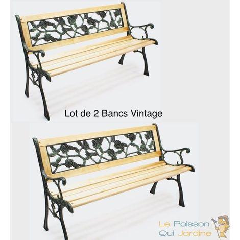 Lot De 2 Bancs Vintage Décoration Florale Pour Votre Jardin, Terrasse.