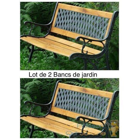 Lot De 2 Bancs Vintage En Fer Et En Bois Pour Votre Jardin, Terrasse.