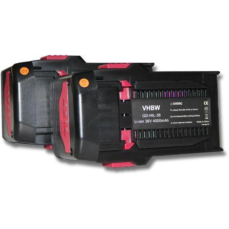 Lot de 2 batteries lLi-Ion vhbw 4000mAh (36V) pour outils Hilti TE6A, TE 6A, Hilti TE7A. Remplace: Hilti B36, B36V.
