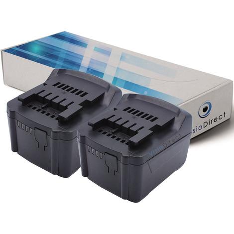 Lot de 2 batteries pour Metabo BS 14.4 6.02105.51 perceuse visseuse 3000mAh 14.4V