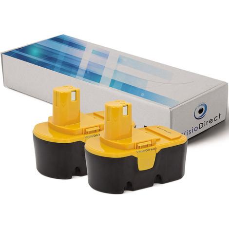 Lot de 2 batteries pour Ryobi P204 perceuse visseuse 3000mAh 18V